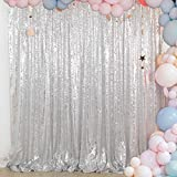 ShinyBeauty Sequin Backdrop - Backdrop Photography and Photo Booth Backdrop for Wedding/Party/Photography/Curtain/Birthday/Christmas/Prom/Other Event Decor - 4FTx6FT(48inx72in) (Silver)