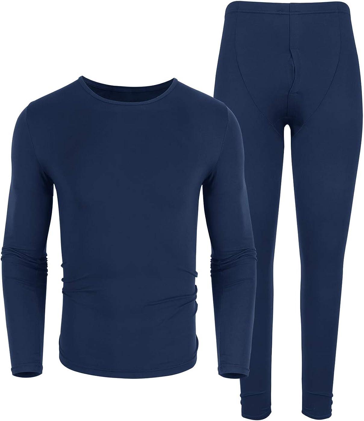 poriff Men's Thermal Underwear Ultra Soft Lightweight Thin Long John Set