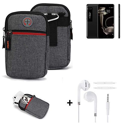 K-S-Trade® Gürtel-Tasche + Kopfhörer Für -Meizu Pro 7 Plus- Handy-Tasche Schutz-hülle Grau Zusatzfächer 1x