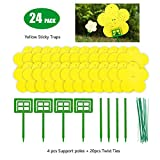 24 Pack Dual Yellow Sticky Traps in Flower Shaped for Flying Plant Insect Like Fungus Gnats, Aphids,...