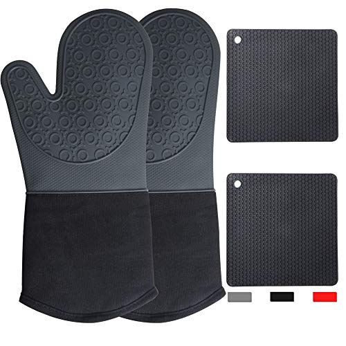 Oven Mitts Silicone Heat Resistant 2 Pcs Pot Holders for Kitchen Mittens Non-Slip Textured Grip Oven Mitts and Pot Holders Sets Gray