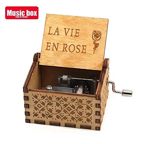 TZSHUQ antieke gesneden houten hand Crank muziekdoos verjaardagscadeau kist anonimiteit decoratie Star Wars La Vie En Rose