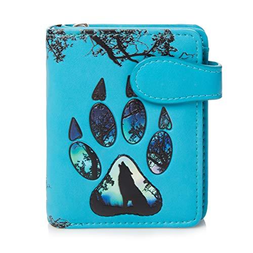 Shagwear ® Portemonnaie Geldbörse Damen Geldbeutel Mädchen Bifold Mehrfarbig Portmonee Designs: (Wolfs Pfote/Wolf Paw Blau)