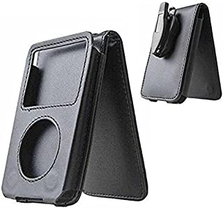 J-Rijzen Black iPod Classic Case PU Leather Case for iPod Classic 80GB 120GB with Movable Belt Clip