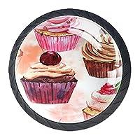引き出しハンドルは装飾的なキャビネットのノブを引っ張る ドレッサー引き出しハンドル4個,水彩のシームレスなカップケーキの背景