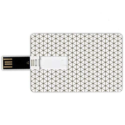 64GB Chiavette USB a forma di carta di credito Arredamento moderno Memory Card stile carta di credito Croci allineate a forma quadrata di diamanti geometrici con immagine a punti,verde salvia e bianco