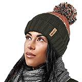Unisex para Mujer para Hombre cálido Invierno Grueso Bloque de Color esquí Bobble pompón Sombrero con Acogedor Forro térmico de Felpa de Peluche