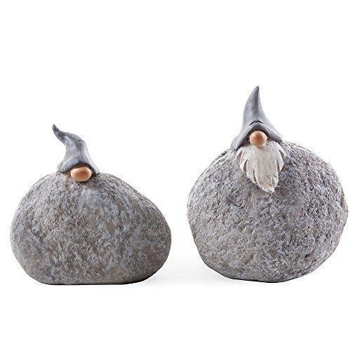 Pair of Garden Gnome Rock Ornaments Stone Look Polyresin Fun Ornament