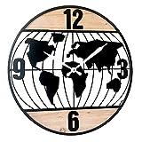 Reloj de Pared Decorativo de Madera Mundo. Adornos. Decoración Hogar. Muebles Auxiliares. Menaje . Regalos Originales. 60 x 3 x 60 cm