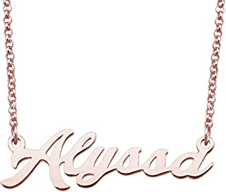 LoEnMe Jewelry Rose Gold Name Necklace Personalized Custom Made Gift for Women Girls Couple
