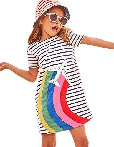 HILEELANG Little Girls Cotton Dress Short Sleeves Casual Summer Striped Printed Shirt,5T/(5-6T)120cm,1#whiterainbow