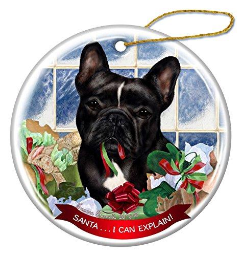 Black and White French Bulldog Dog Porcelain Ornament Santa I Can Explain!