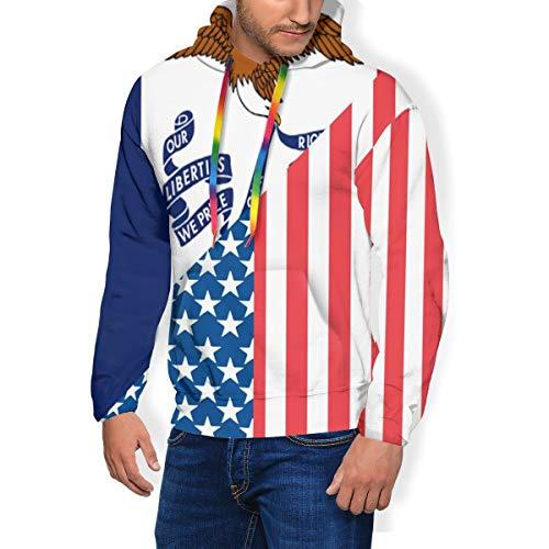 HZamora_H American and Iowa State Flag Men's Thick Hoodie Winter Sweatshirts Funky Long Sleeve Jacket Black