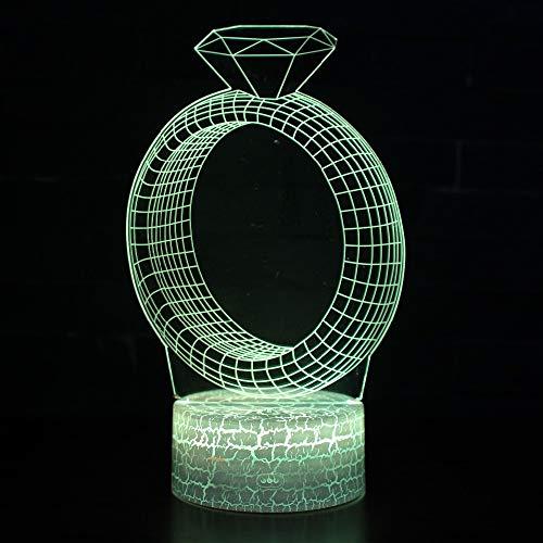 3D Diamond Ring Night Light Illusie Lamp 7 Kleur Veranderend, met afstandsbediening met USB-kabel voor Kerstmis Verjaardag Kindergeschenken, Slaapkamer Decoratie, Office Decoratie