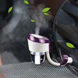 Vyaime Car Diffuser Humidifiers, Essential Oil Aromatherapy Diffusers with Dual USB Charger Adapter, Ultrasonic Air Refresher Purifier for Vehicle Automobile(Purple)