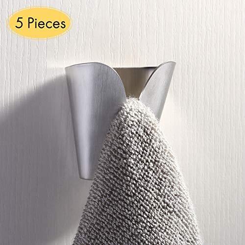 UMI. von Amazon Handtuchhalter Handtuchhaken Selbstklebend Wandhaken Edelstahl 5 Stück Handtuch Halter Geschirrtuchhalter Küche Bad Haken Ohne Bohren Gebürstet, AH7201-2-P5