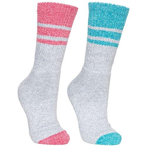 Trespass Damen Hadley Socken/Wandersocken, 2 Paar (36-39 EU) (Aqua meliert/Himbeere meliert)