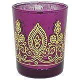 Boho Henna Mercury Glass Votive Candle Holder 2.75' Raspberry - Excellent Home Decor - Indoor & Outdoor