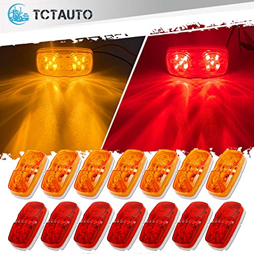 TCTAuto LED Trailer Marker Lights Bullseye Double Bubble 10 Diodes Exterior Clearance Indicators Lights Surface Mount for RV Camper Trucks, Pack of 7 Amber & 7 Red