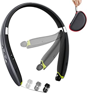 Bluetooth Headphones, BEARTWO Upgraded Foldable Wireless Neckband Headset with Retractable Earbuds, Noise Cancelling Stereo Earphones with Mic for Workout, Running, Driving (with Carry Case) (Grey)