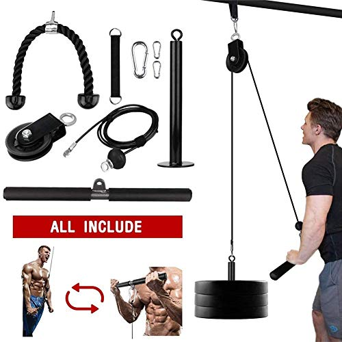 (9-piece Set) LAT And Lift Pulley DIY Fitness System, Pro Pulley Cable System Machine For Triceps Pull Down, Biceps Curl, Back, Forearm, Shoulder, Gym Equipment For Home