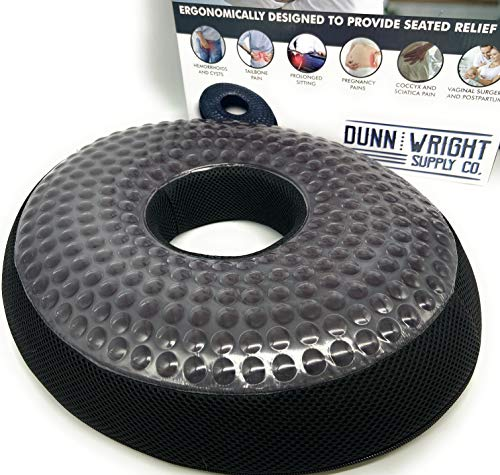 Luxury Orthopedic Donut Pillow - Seat Cushions for Pressure Relief - Cooling Gel and Memory Foam Car and Office Chair Cushion for Hemorrhoid Treatment, tailbone pain, butt surgery, Coccyx, Sciatica