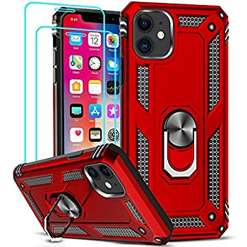 LeYi Compatible for iPhone 11 Case with [2 Pack] Tempered Glass Screen Protector for Women Men Military-Grade Armor Phone Case with Ring Magnetic Car Mount Kickstand for iPhone 11 6.1 inch Red