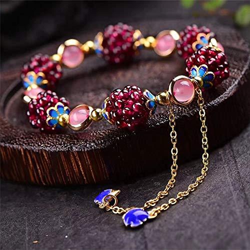 LXMYLI Bonita Pulsera Étnica De Piedra De Granate Natural, Pulsera Encantadora De Cristal De Granada Multicolor, Joyería Fina para Mujer