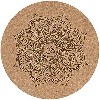 Jzenzero Yoga Mat Little Round Cork Rubber 60x60cmx3mm Non Slip Yoga Cushion Meditation Cushion Pad Pilates Pad for Home Outdoor