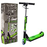 Xootz Kids Electric Scooter Folding with LED Light Up Wheel and Collapsible Handlebars, Element, Green