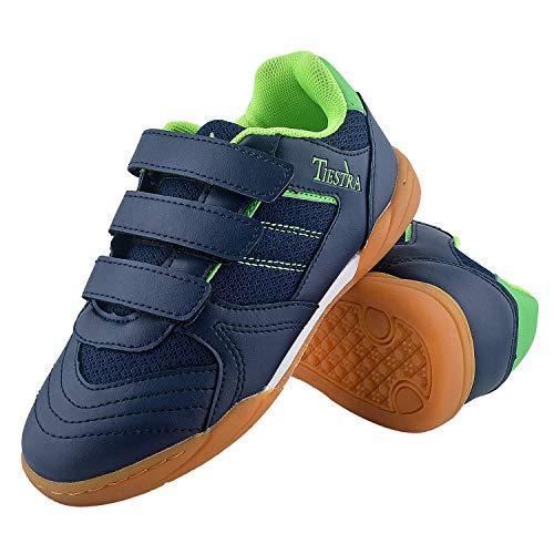 TIESTRA Zapatillas de Deporte Interior Unisex Niños, Zapatillas de Deporte Niños Ligeras Transpirable Zapatos de Correr Antideslizante Sneakers, Zapatillas de Fútbol Unisex Niños, Azul EU29