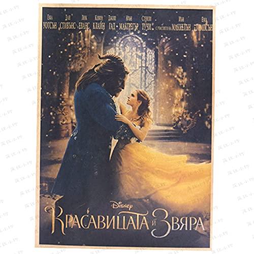 KEJIA La Bella y la Bestia película clásica Retro nostálgico Papel Kraft Cartel Bar Sala de Estar Dormitorio decoración Pintura corazón