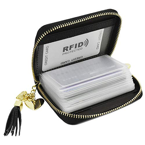 Lacheln - Cartera organizadora de tarjetas de crédito con bloqueo RFID, de piel auténtica, con cremallera, para viaje, con 20 ranuras para tarjetas para mujeres - Negro - Small