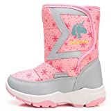 Ahannie Kids Boys Girls Snow Boots, Outdoor Warm Insulated Winter Boot for Toddler/Little Kid (Color:Pink)