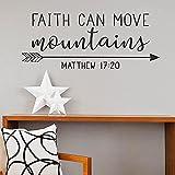 Calcomanía de vinilo para pared, diseño de flecha de la familia de las Escrituras con texto en inglés 'Faith can Move...