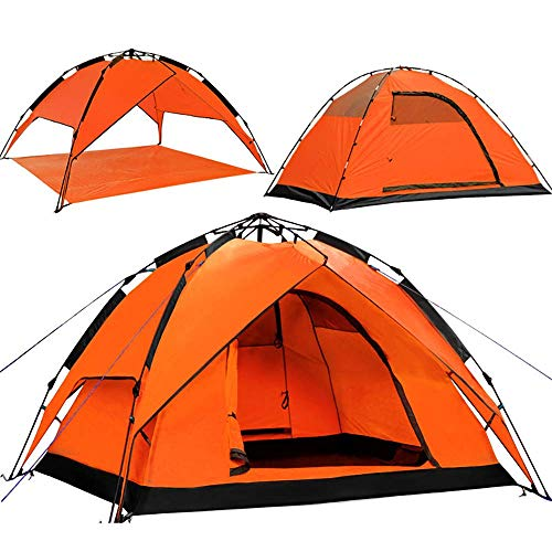 Portable 3-4 person folding tent Instant pop-up tent Double door Waterproof and ultraviolet protection tent for family camping hiking