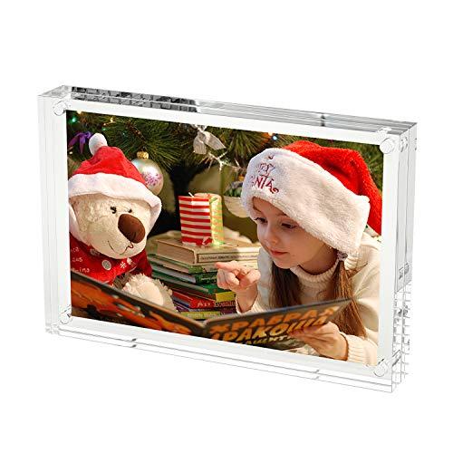 HIIMIEI Bilderrahmen 10x15 cm Acryl Fotorahmen Geschenkbox Verpackung, klare freistehende doppelseitige magnetische Desktop Bildanzeige