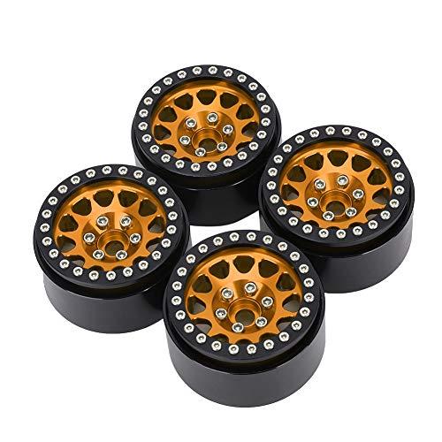 4 Unids 1:10 RC Crawnler Coche Metal Wheel Hub Neumático Ajuste para Axial SCX10 / SCX10II / 90046/90047 Black Y Golden