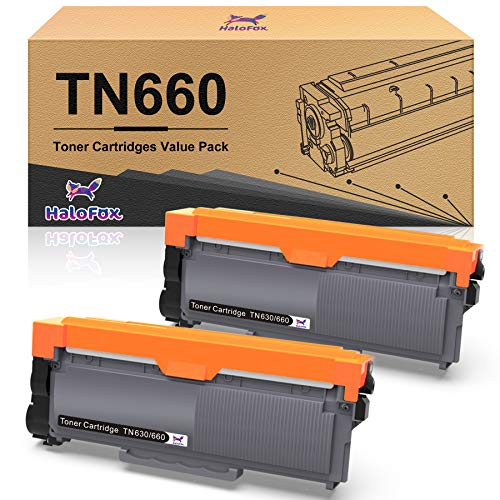 HaloFox Compatible Toner Cartridge Replacement for Brother TN660 TN630 DCP-2560DN MFC-L2707DW MFC-L2700DW HL-L2380DW DCP-L2540DW HL2340DW MFC-L2740DW MFC-L2685DW HL-L2300D Printer (Black, 2-Pack)