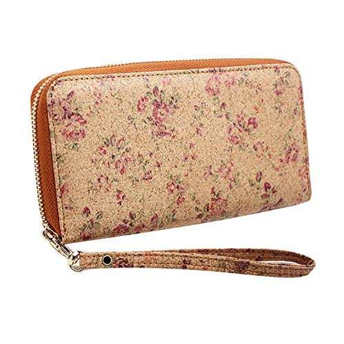Cork Vegan Purse Wallet, Boshiho Women's Wallet Large Capacity Smart Phone Clutch Zip Long Purse with Card Holder Coin Pocket Vegan Gift (Flower Pattern)