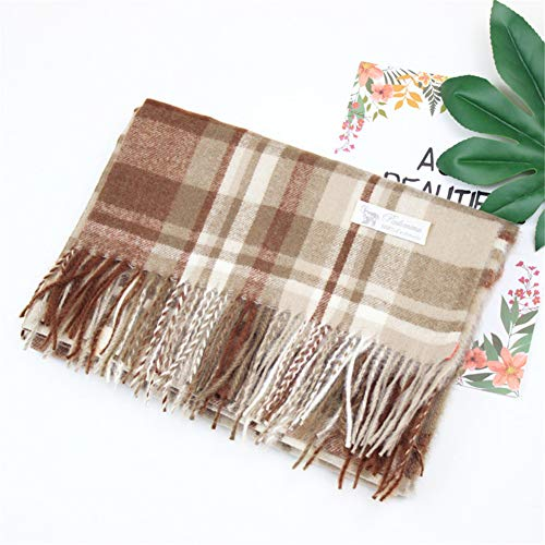 Cashmere Color Check Scarf Ladies Autumn and Winter Warm Shawl Scarf,coffee