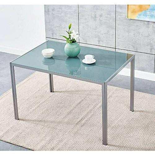 GXK 120cm x 80cm 4/6 Seater Grey Glass Dining Table Home Kitchen Furniture