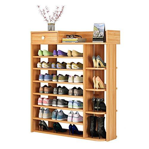 Zapateros Estante para Zapatos Estante Compuesto de Madera y plástico - Ponga Botas, 8 Niveles, 80 * 25 * 120CM Ahorro de Espacio Estante para Zapatos de fácil Montaje