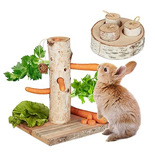 Relaxdays Juego de 2 Juguetes de Conejo, árbol para roedores e Inteligencia, Madera, Accesorios, cobayas, Conejos, Natural