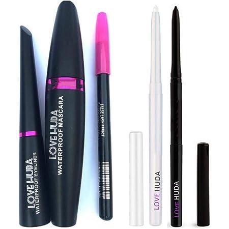 LOVE HUDA Professional Combo Waterproof Liquid Mascara, Eyeliner, Eyebrow Pencil With Long Lasting Auto Kajal Black And White (Set Of 5)