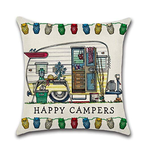XinLuMing (2 pieces) Linen Hug Cushion Cover Pillow Cover, Cartoon Camper Car RV Dining Car Series (Color : R)