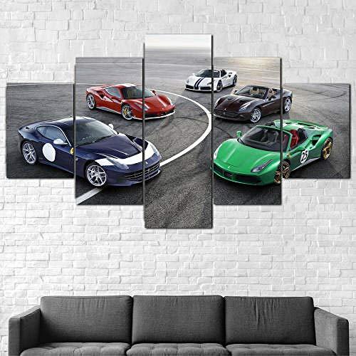 BAEPAYF Leinwanddrucke Kreatives Geschenk 5 stück Leinwand Bilder Hd Drucke Poster abstrakt Ferrari Anniversary Group Cars Moderne Wandbilder XXL Wohnzimmer Wohnkultur