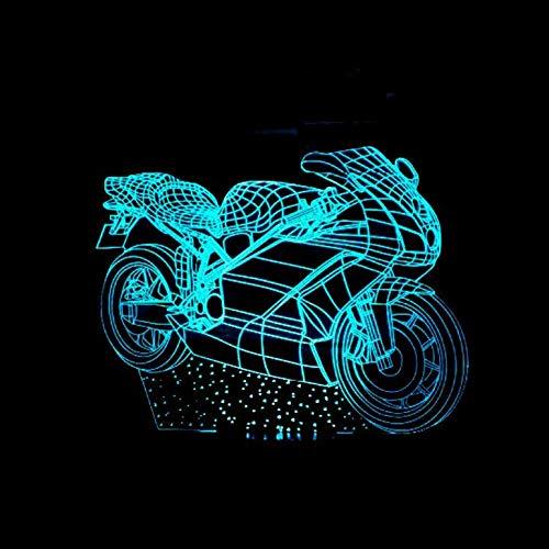HOHHJFGG New Motorcycle 3D Slide 7 Color Changing LED Night Light Acrylic Table Lamp Atmosphere Light Novelty Lighting