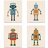 wall26 Robots Nursey Decor Kids Cartoon Illustrations Multicolor Canvas Prints Kid Room Unframed Poster Set of 4, 8 x 10 inches