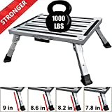 FLSEPAMB Portable RV Step Aluminum Folding Platform Steps with Anti-Slip Surface, Rubber Feet, Reflective Stripe, Grip Handle, More Supports Up to 1000 lbs+